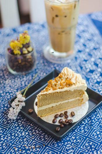 Coffee Cake on blue tablecloth. Cafe Cafe Menu Cafe Time Cafeteria Cake Cake♥ Coffee Cake  Dessert Dessert Decorations Dessert Menu Dessert Time! Desserts Me Restaurant Showcase July