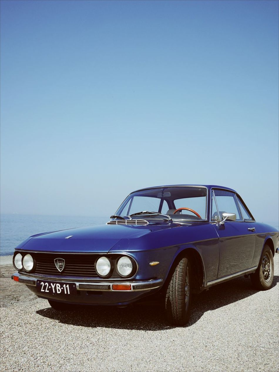 Blue Car Old-fashioned Racecar Outdoors Motorsport Lancia Oldtimer Sea Seaside Blue Sky
