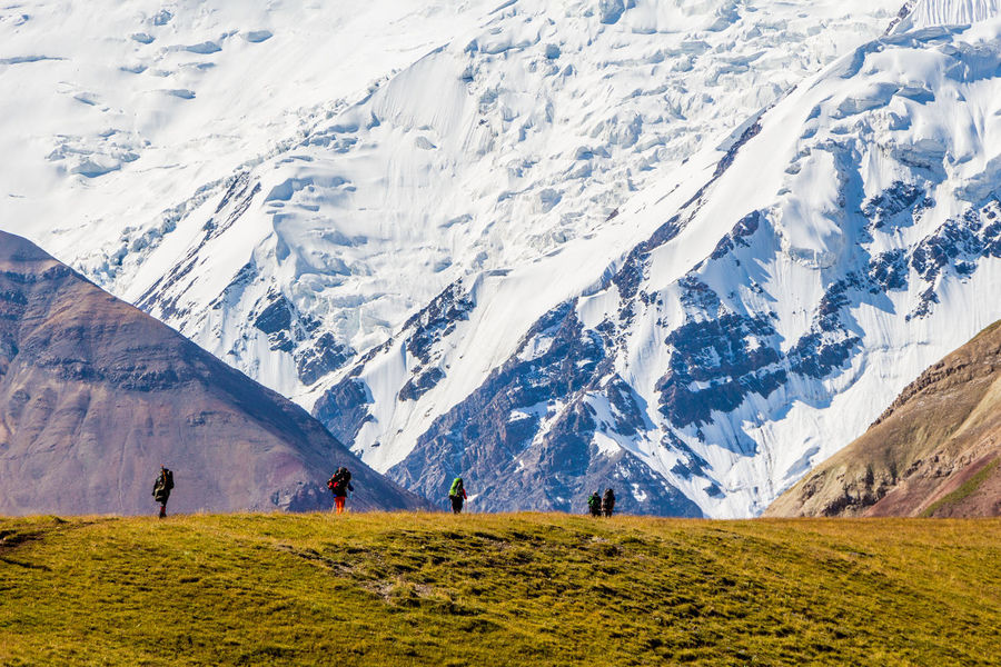 Hiking Kyrgyzstan Pamir Mountains Trekking Animal Themes Beauty In Nature Cold Temperature Day Landscape Mountain Mountain Range Nature Outdoors Pamir People Real People Scenics Snow Tranquil Scene Tranquility