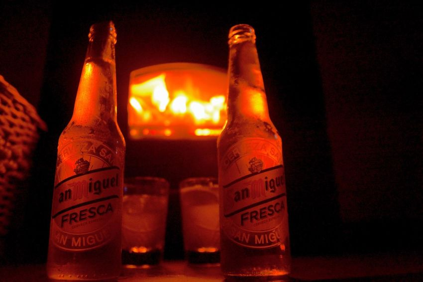 San Miguel Beer Two Is Better Than One Night Cold Night Fireplace Trip Traveling Travel Photography Traveling With Family Live Life Live Young And Free ♥