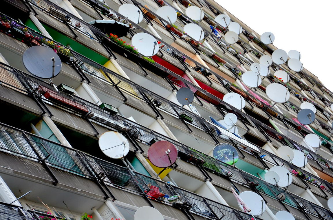 The Street Photographer - 2017 EyeEm Awards Berlin Photography Satellite View Low Angle View Architecture Close-up Myfuckingberlin Satelite TV Disks Satelite Bowl Sozialpalast Berlinstagram Berlin Streetart Satellite Dish Satellite Antennas Satellitenschüssel Fassade Fasade Outdoors Discover Berlin