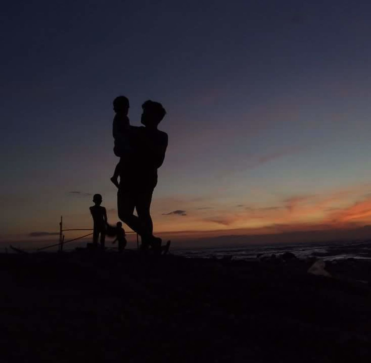Adult Bonding Family Leisure Activity Nature Night Silhouette Sunset Togetherness Vacations