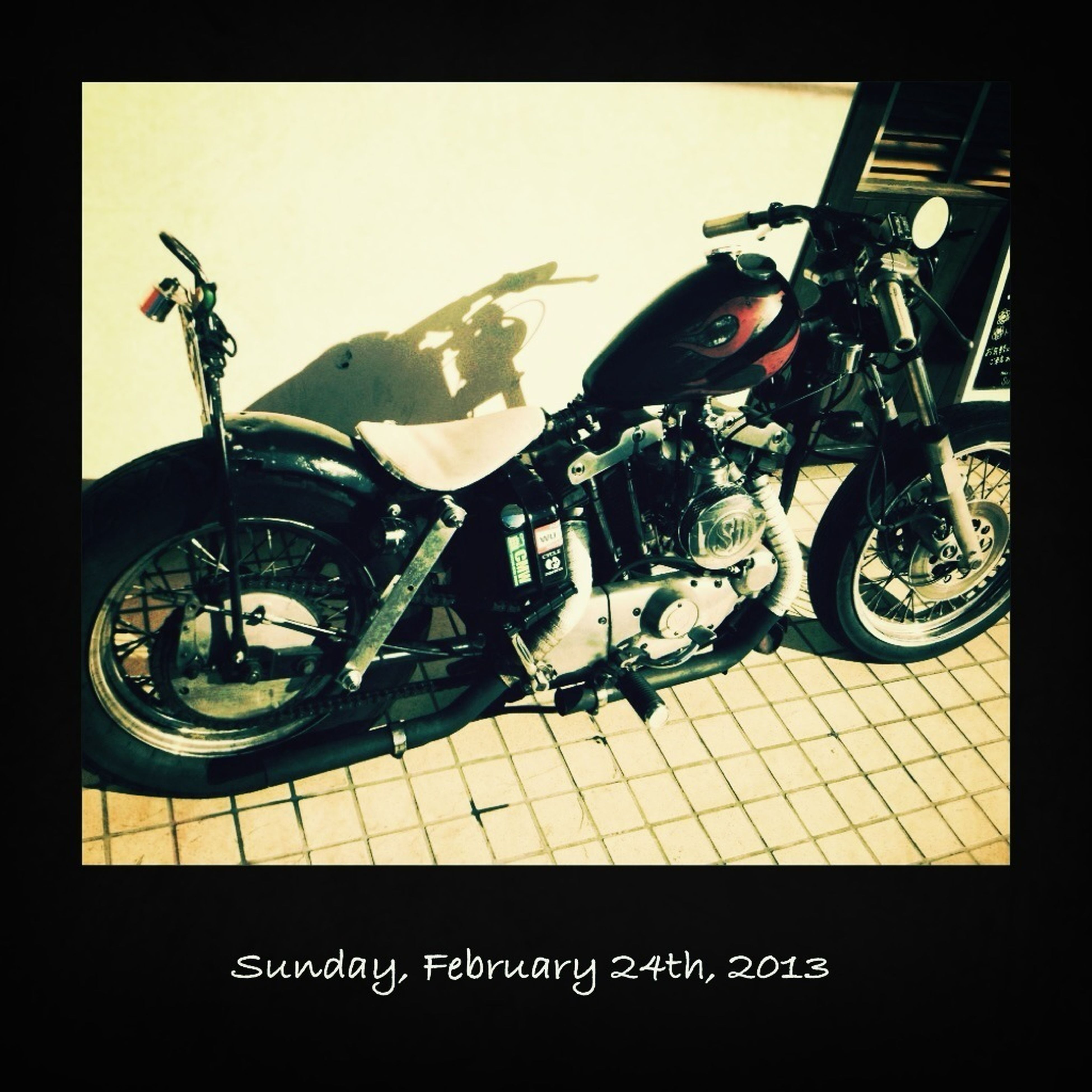 transfer print, bicycle, transportation, auto post production filter, land vehicle, mode of transport, stationary, parked, parking, high angle view, motorcycle, indoors, car, no people, retro styled, day, street, parking lot, shadow, sunlight