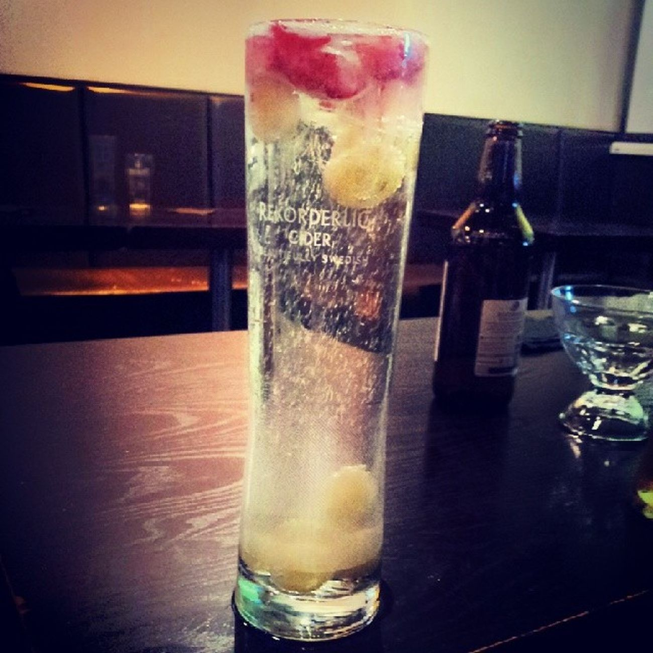 Passionfruit Rekorderlig with fresh Strawberry and Grapes honestly the best taste ever.