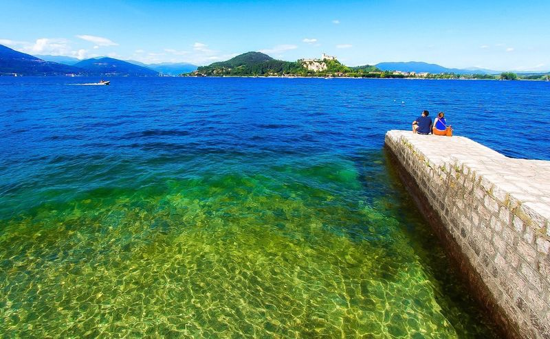 Lago Maggiore, Arona Water Sea Day Beauty In Nature Scenics Nature Outdoors Blue Sky Mountain Tranquility Italy Nautical Vessel