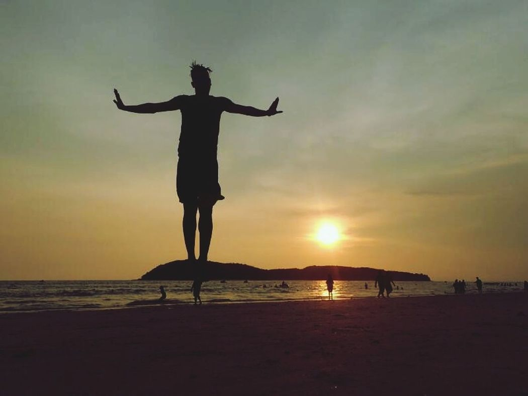 Beach Sand Sunset People Sea Summer Landscape Vacations One Man OnlyOne Person Flying In The Sky Outdoors Sky Sun Travel Lifestyles Nature Resist Adult Long Goodbye EyeEmNewHere