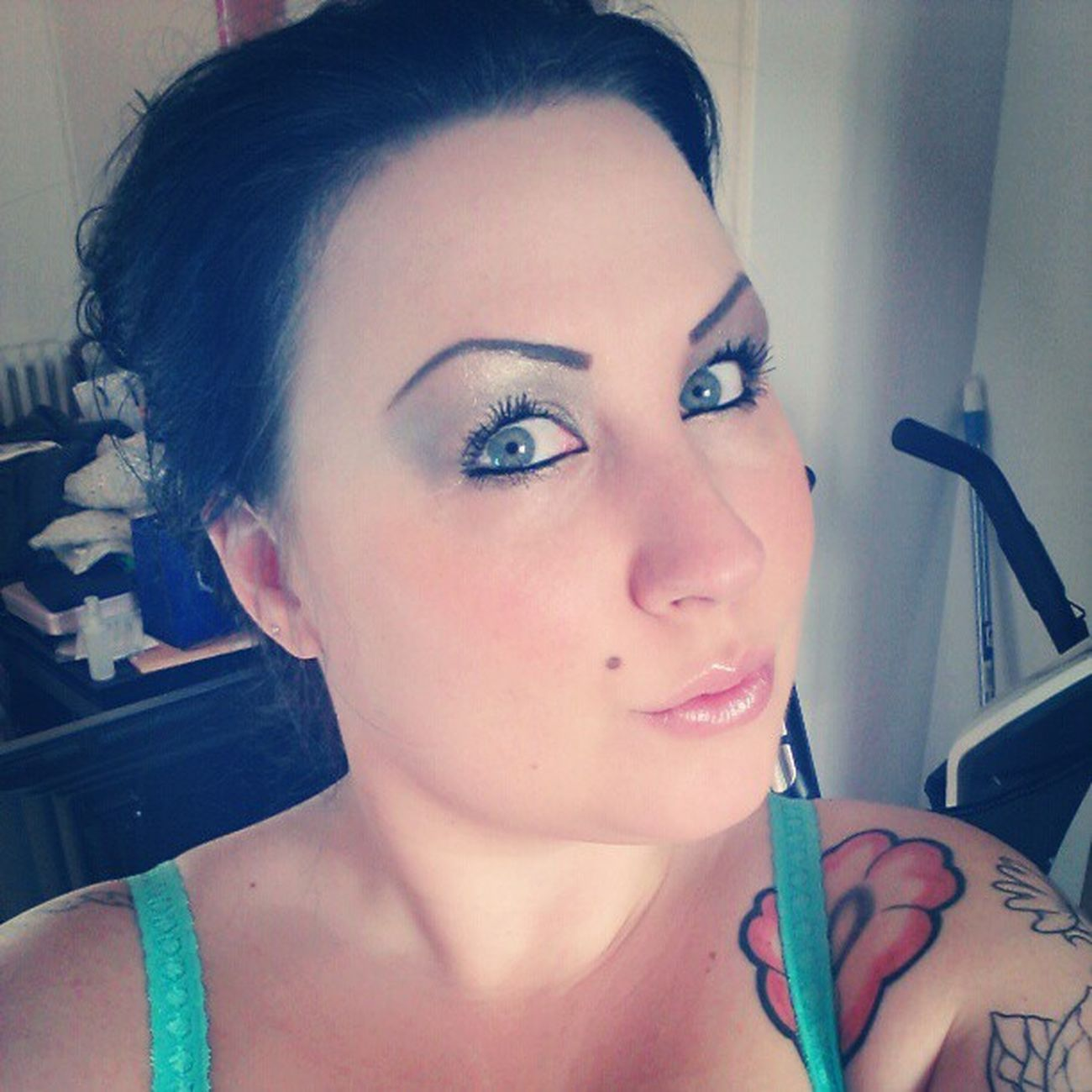 Muotd Makeupoftheday Urbandecay Ud toofacedmakeup toofaced glitter silver blueeyes girlwithtattoos
