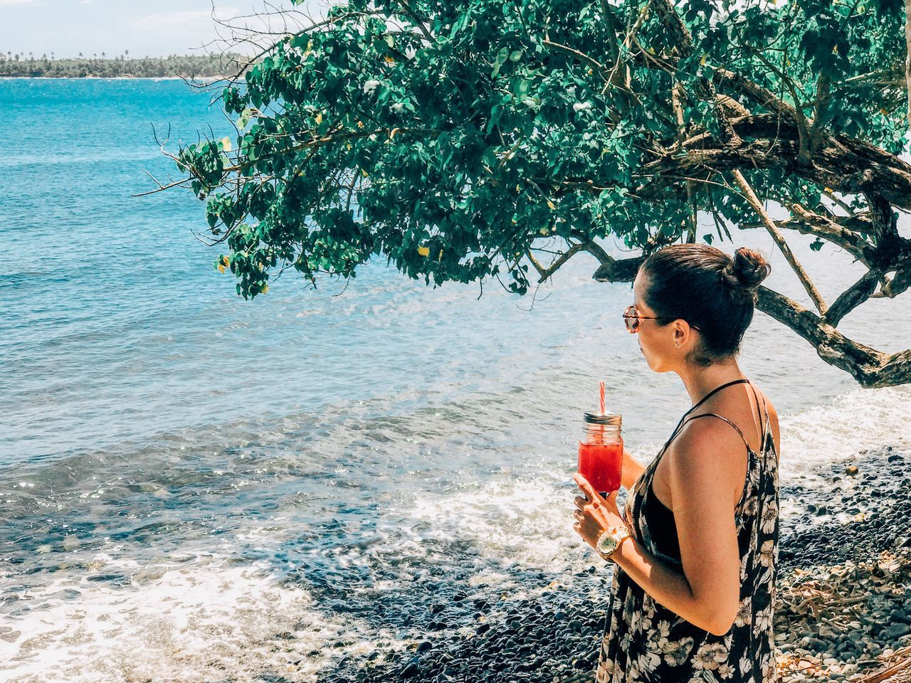 Sea Water One Person Drinking Only Women Day Tree Outdoors Young Adult Food And Drink Nature Beach Leisure Activity Drink Young Women Real People Adults Only Standing One Woman Only Adult Vacation Travel Landscape Neighborhood Map