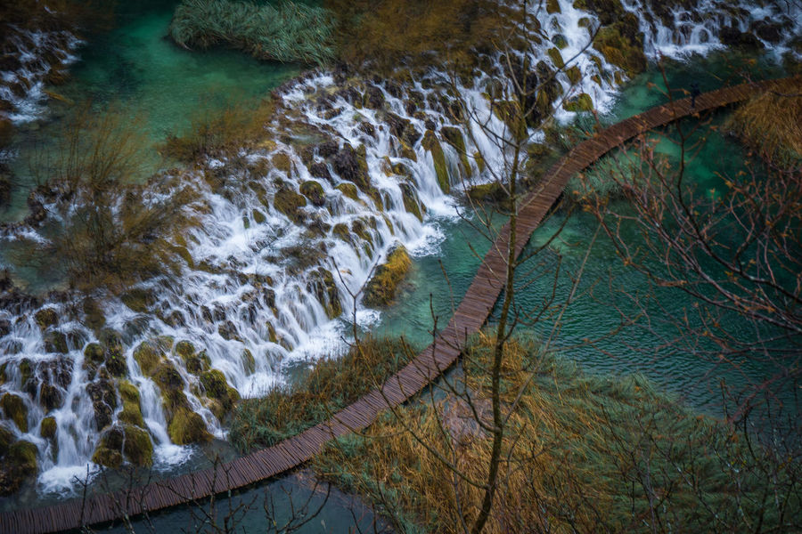 Croatia Plitvice Lakes National Park Waterfalls Boardwalk Nature Water Nature Tree Day No People Outdoors Beauty In Nature