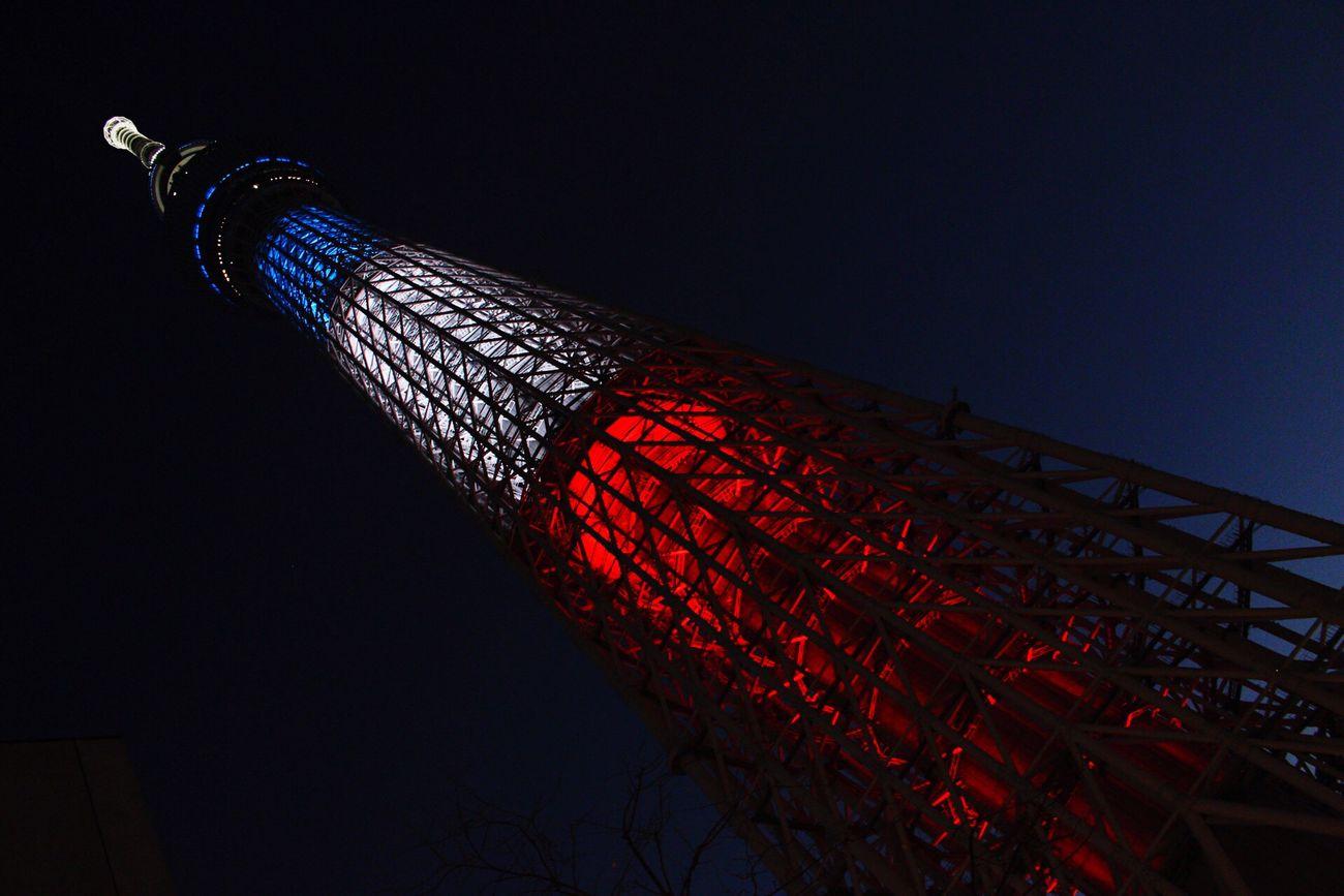 東京 スカイツリー フランス国旗 ライトアップ