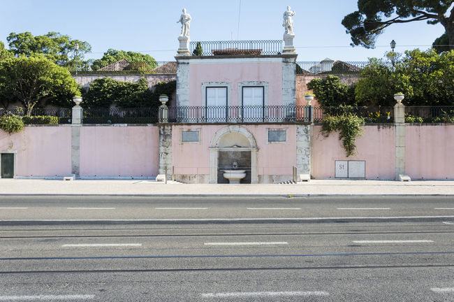 Arch Arched Architecture Belém Building Exterior Built Structure Day Entrance Entryway Façade Footpath History Lisbon No People Outdoors Pink Place Of Worship Port President Sky Tree