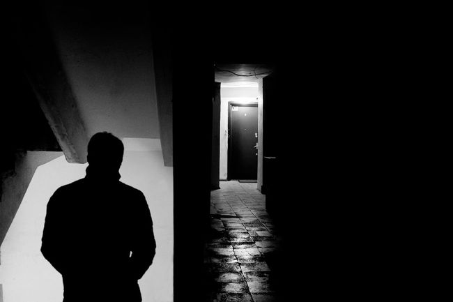"""Photo name: """"15th floor"""" Floor Stairs Indoors  Silhouette Monochrome Check This Out Fujifilm Blackandwhite Street Photography B&w Black And White One Person Photography Man Shadow Light And Shadow Building Old Photo Tbilisi Person Georgia Minimal Minimalism Streetphotography"""