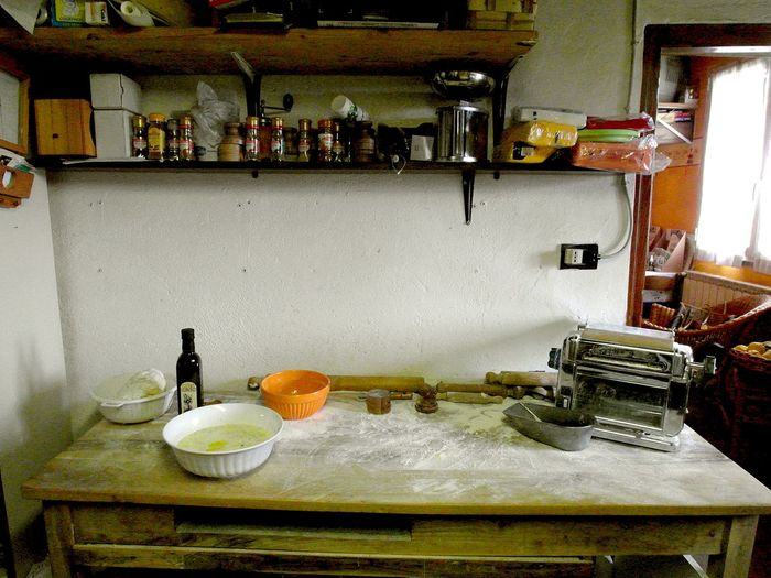Kitchen table Cans Bottle Dough Food And Drink Indoors  Kitchen Table Oil Bottle Pasta Machine Shelf Spices Table