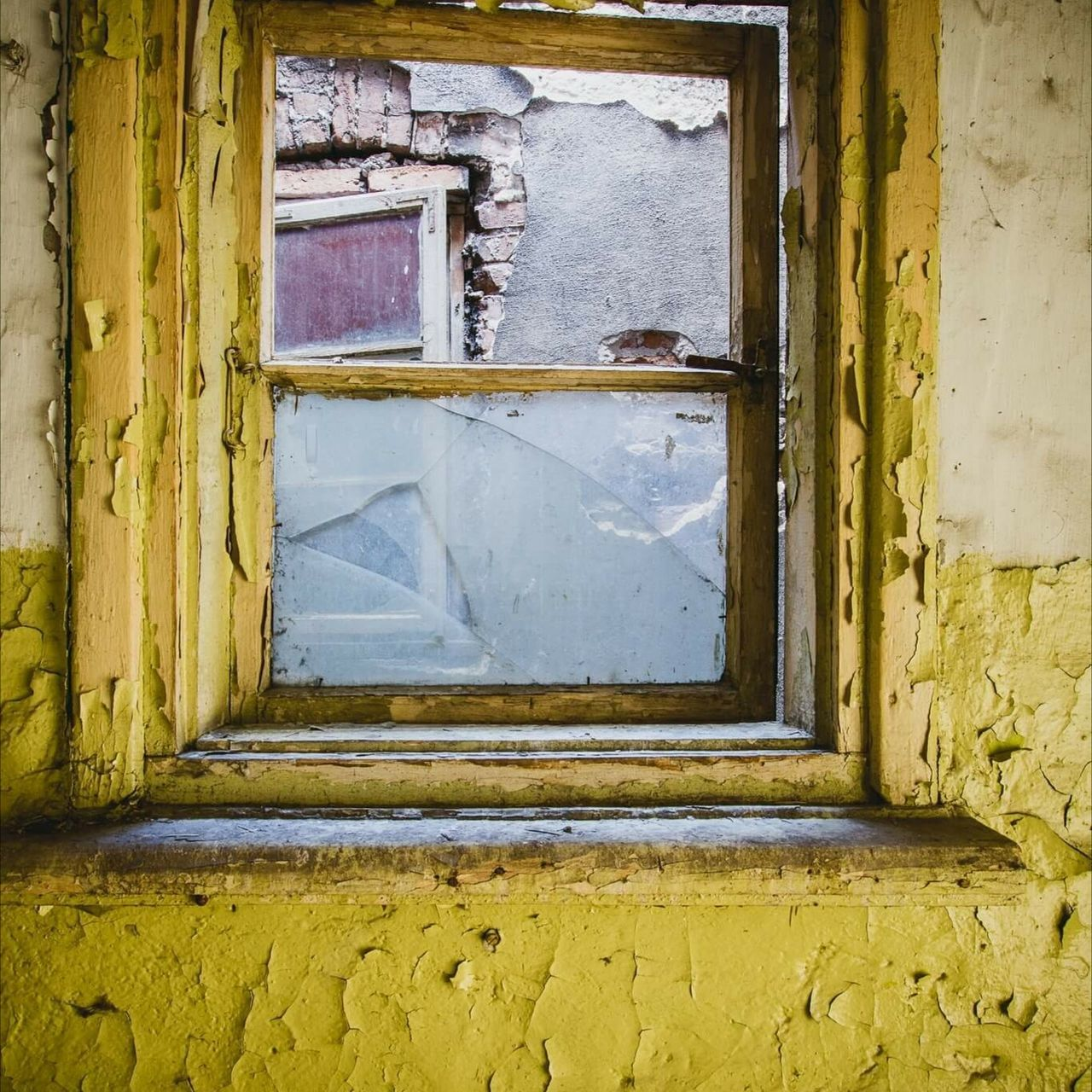 door, window, house, old, abandoned, damaged, architecture, built structure, weathered, dirty, doorway, bad condition, day, no people, yellow, indoors, rotting, close-up, open door