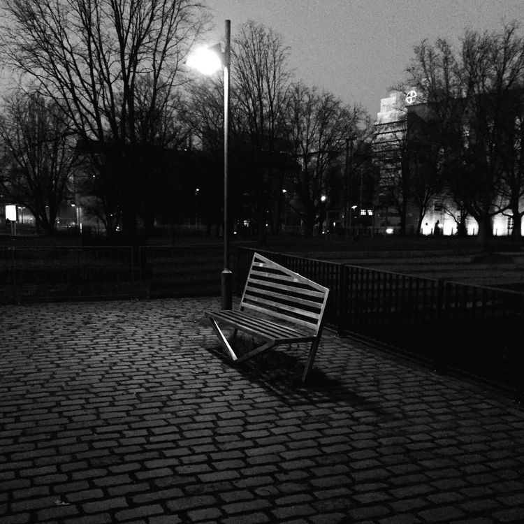 Tree City Outdoors No People Illuminated Bare Tree Sky Architecture Day Bench Blackandwhite Black And White Night Lantern Night Lights