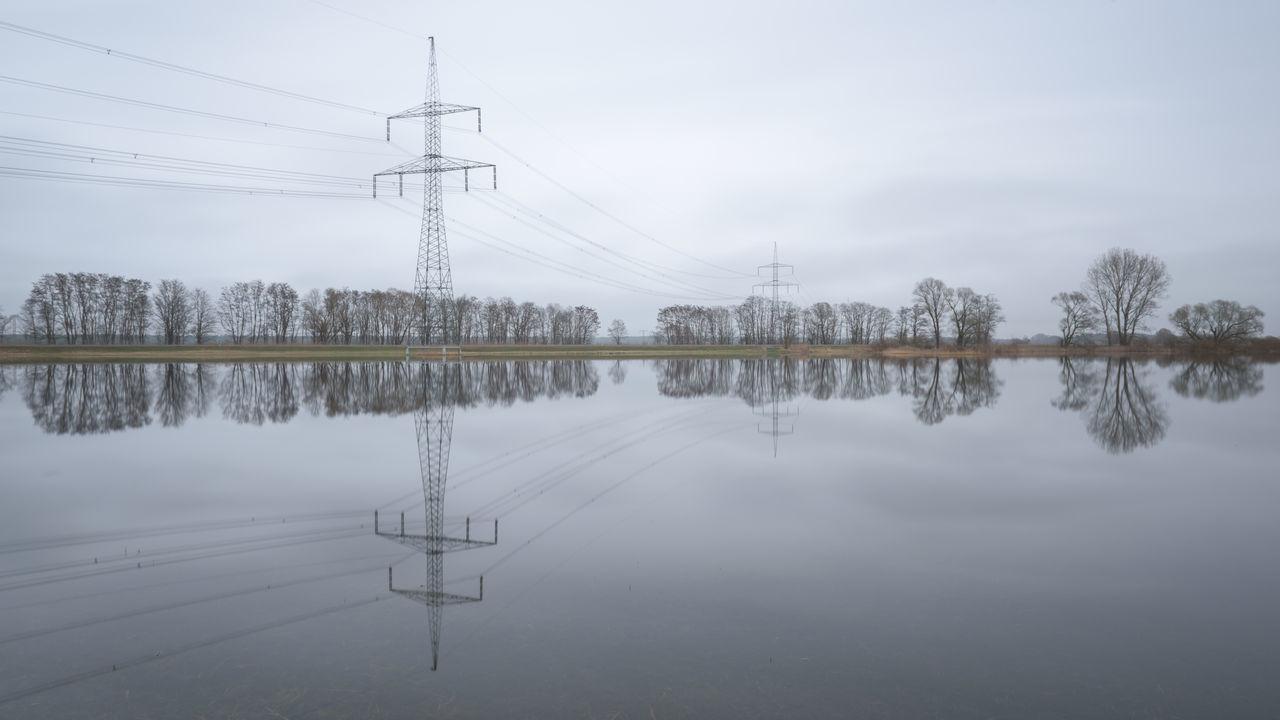 Brandenburg Cable Day Electricity Pylon Energie Energieversorgung Energiewende Nature No People Outdoors Reflection Sky Strommast Stromtrasse Stromversorgung Water
