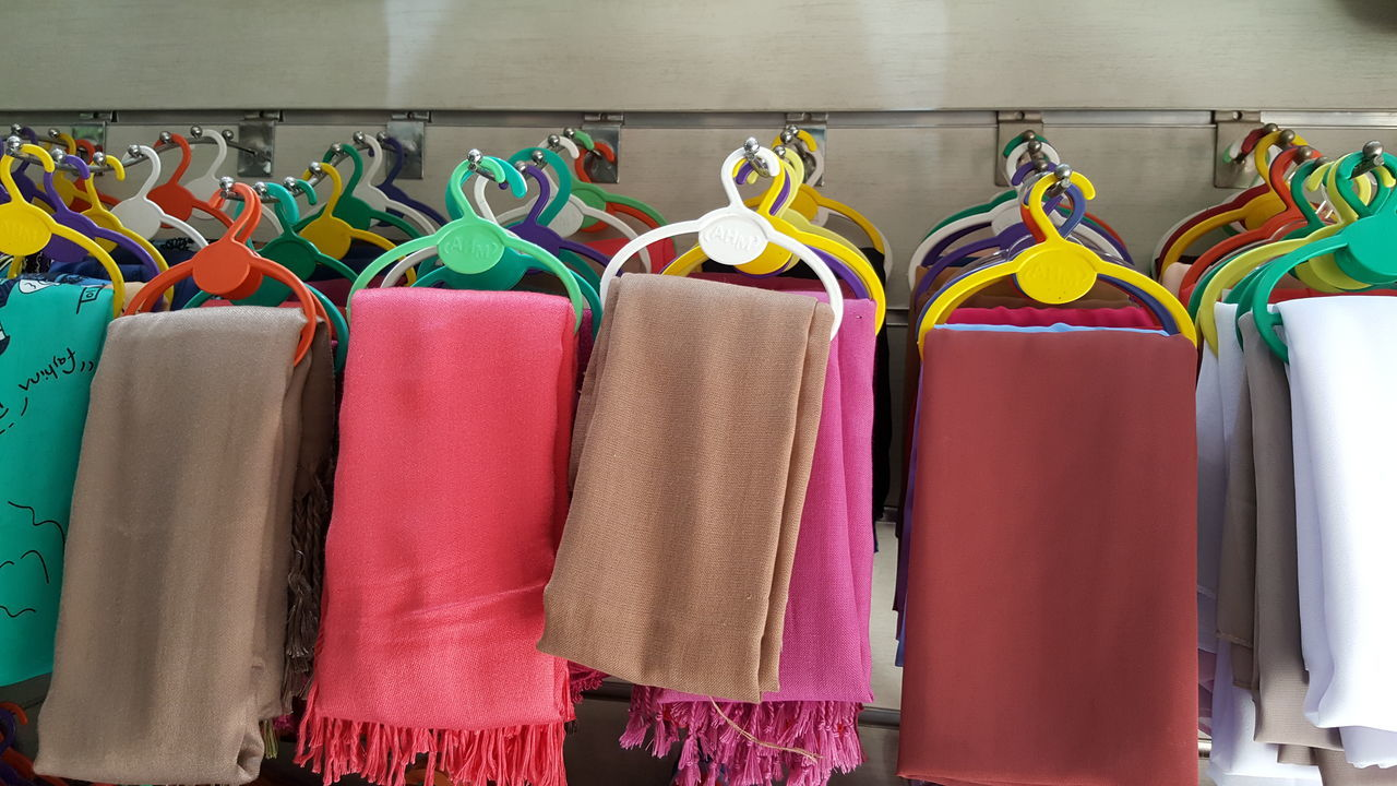 Store of scarfs... Multi Colored No People Variation Choice Indoors  Coathanger Close-up Day Scarf Textile Hangs Shopping ♡