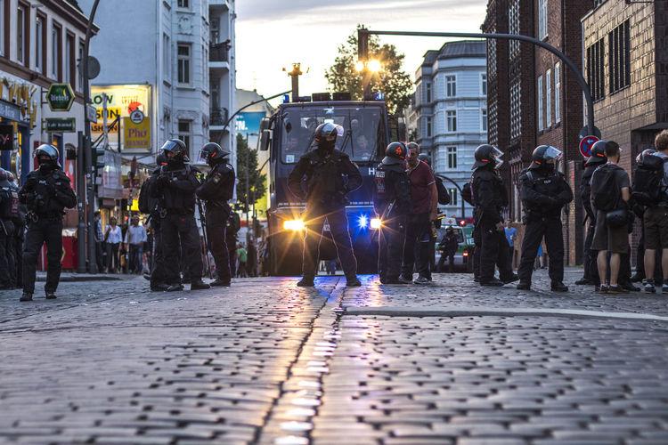 G20 Demonstration 2017 Fear G20 Gipfel G20 Summit Hamburg Light NOG20 Policeman Polizei Uniform Wall Axvo Demonstration Demonstrations  Dummheit Evening G20 Hamburg Police Police At Work Police Car Police Force Scare Street Streetphotography