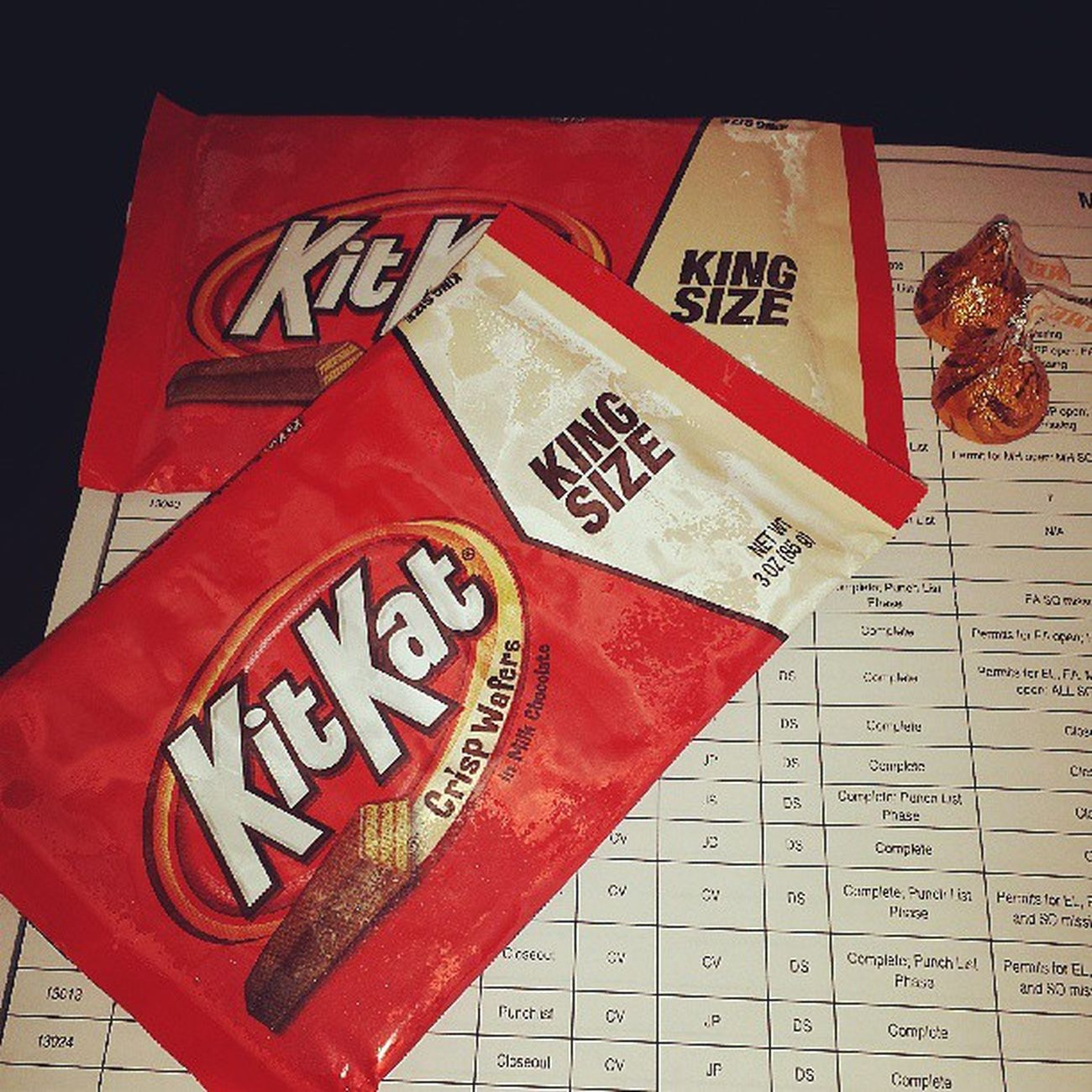 Break time!!! Kitkat Kingsize Crispwafers Milkchocolate hersheyskisses caramelfilling snacktime