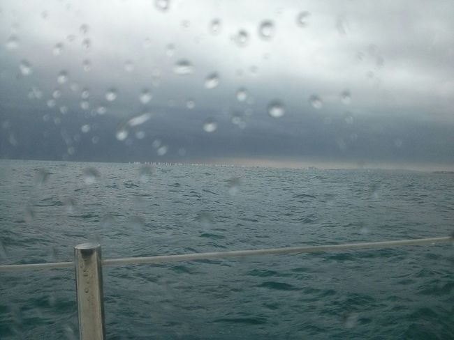 Sea And Sky Going Sailing Raindrops Starting A Trip