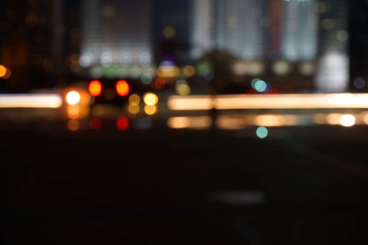 illuminated, night, defocused, no people, transportation, road, city, outdoors, close-up