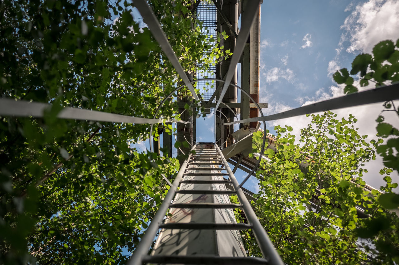Up. Abandoned Places Growth Industrial Ladder Looking Up Low Angle View Pipes The Way Forward Vanishing Point