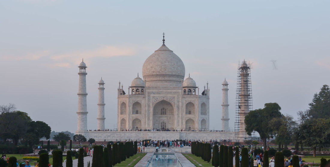Front view of the historic Taj Mahal Agra ,Uttar Pradesh India Agra Ancient Civilization Architcture Autobiography Beautiful City Day Design Historical Building Holiday Islam Jodha,akbar Lifestyles Light Tourism,tower,trave Tourist Tower