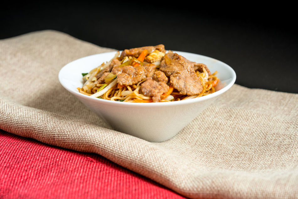 Beef Black Background Close-up Dried Fruit Freshness Fried Noodle No People Noodle Ready-to-eat Studio Shot