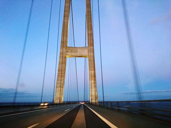 Danish Bridge Storebælt Storebæltsbroen Evening Sky Structure