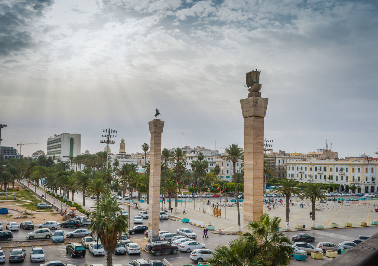 Architecture Cars City Cityscape Day Martyr Square Monuments No People Outdoors People Sky Travel Destinations Tree Tripoli Urban Skyline