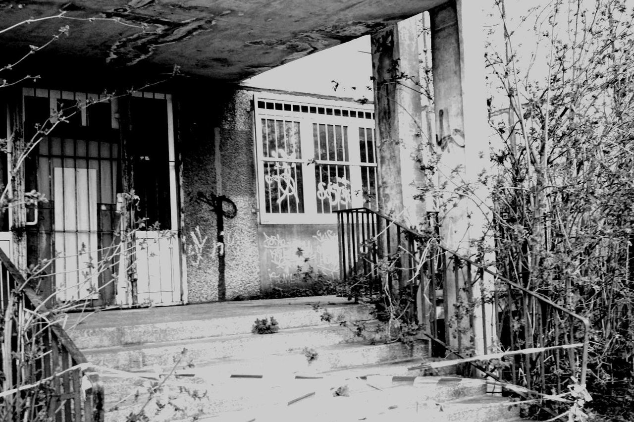 Bad Condition Blackandwhite Building Destroyed Deterioration Eastgermany Graffiti Perspective Ruined