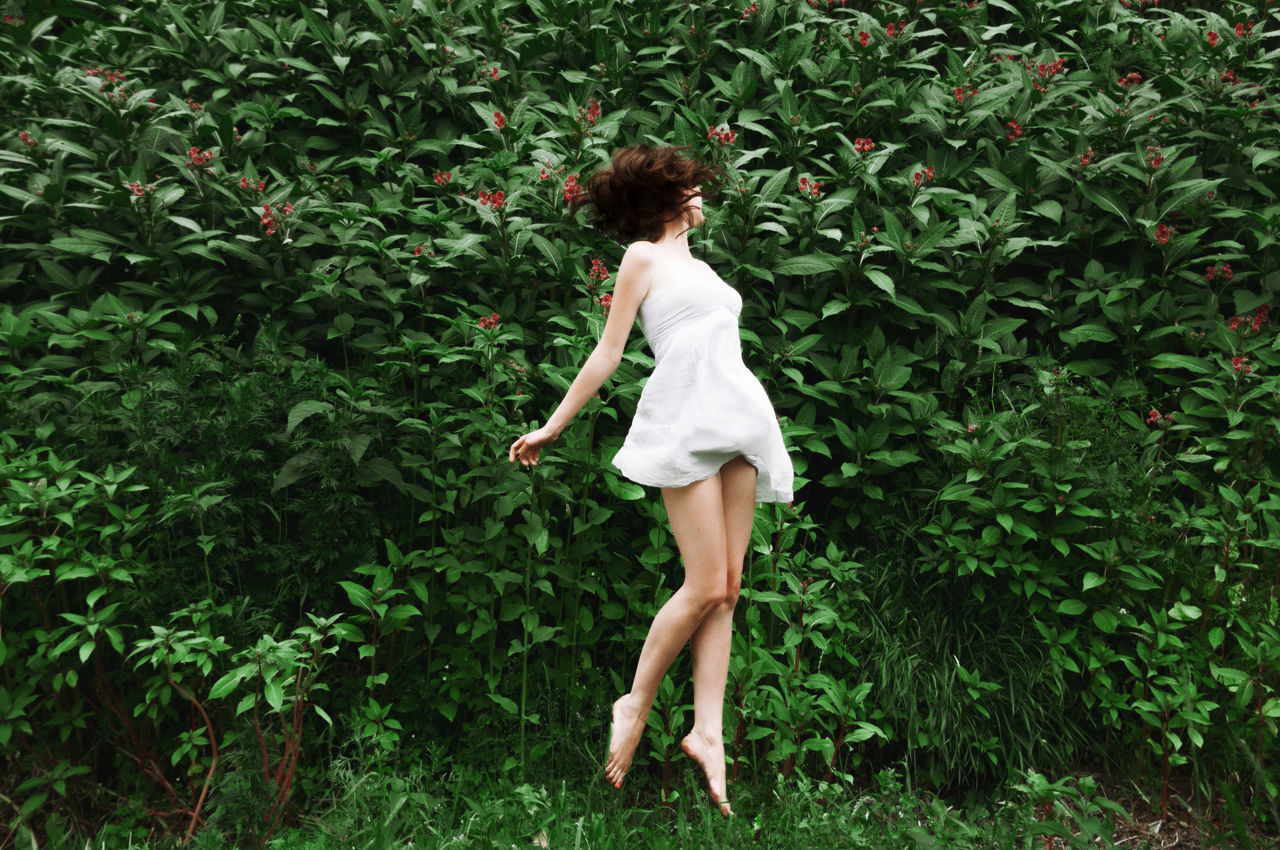 Greenscape Figure Flowers Girl Green Green Plants Jump Legs Linas Was Here Nature Sculpture Summer White Dress Wild Fresh On Market 2017
