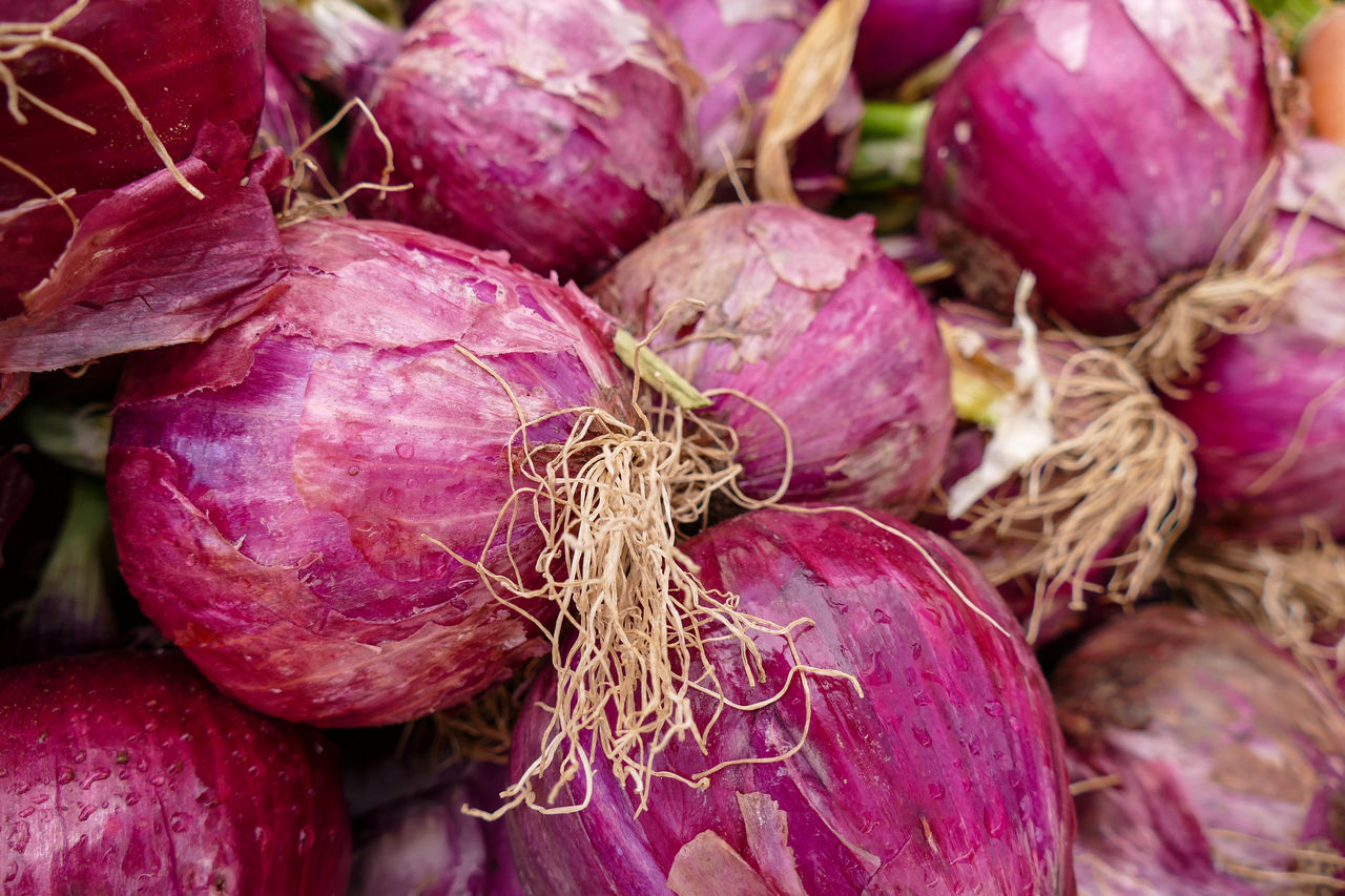 Close-up Day Farmers Market Food Food And Drink Foodphotography Freshness Fruits And Vegetables Healthy Eating No People Outdoors Purple Raw Food Red Onions Root Vegetables Roots Vegetable