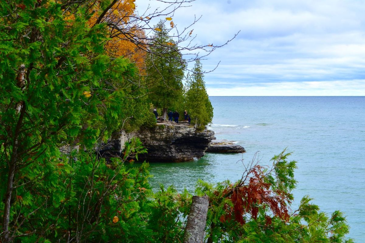 Autumn Beauty In Nature Cave Point Cliffs Day Door County Door County, Wisconsin Fall Green Color Horizon Over Water Lake Lake Michigan Nature No People Outdoors Scenics Shoreline Tranquil Scene Tranquility Tree Water Wisconsin