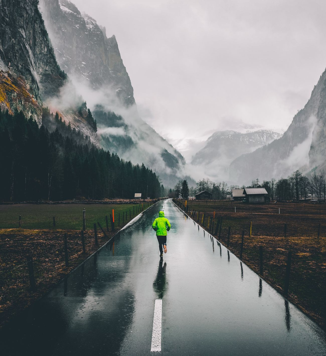 • Runner • Mountain Real People Weather Fog Mood Road Run Folk One Person Nature Scenics