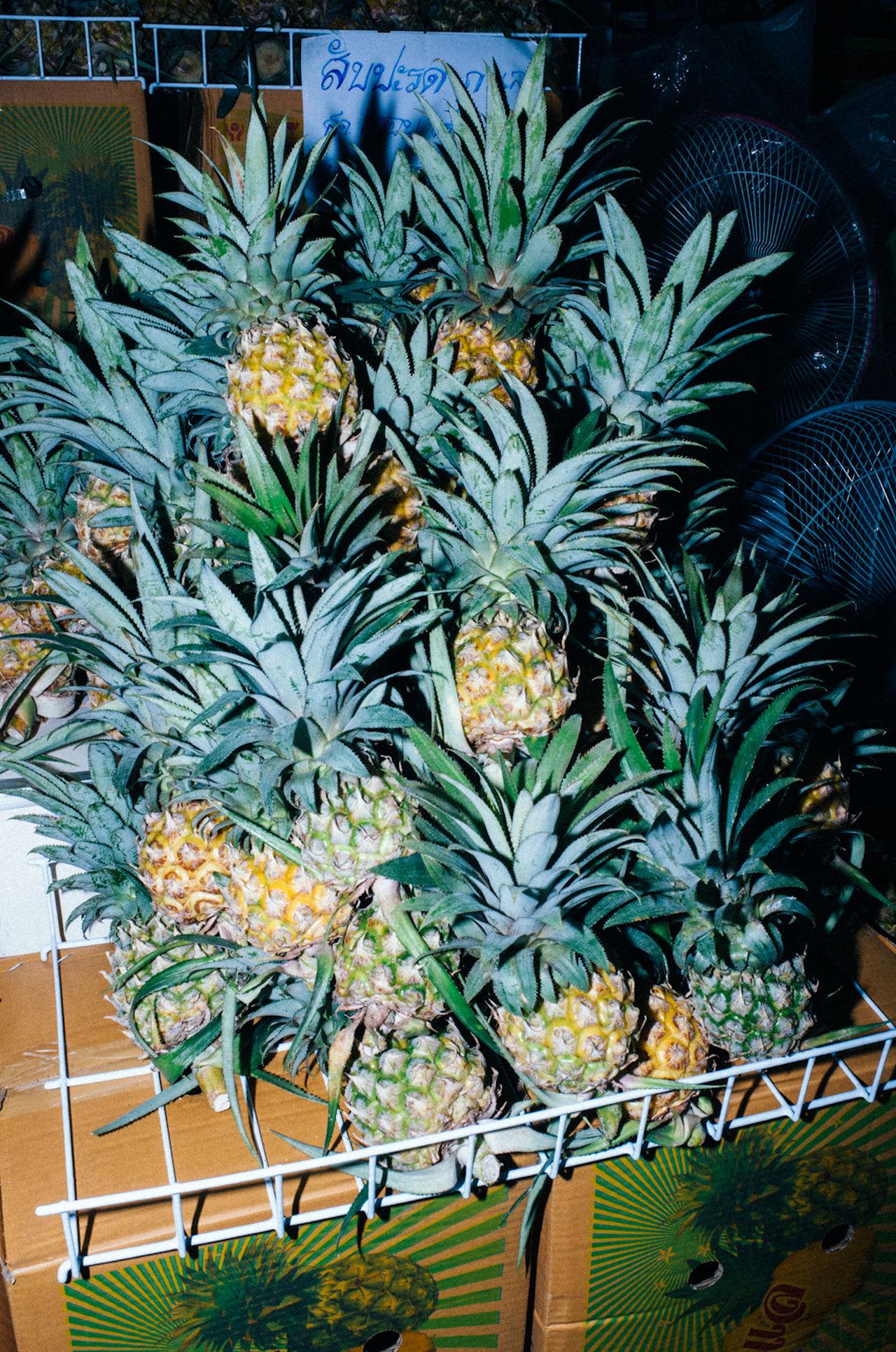 PINEAPPLE PARTY Bangkok Cool fresh fruit fruits Juice Market Pineapple pineapples Thailand