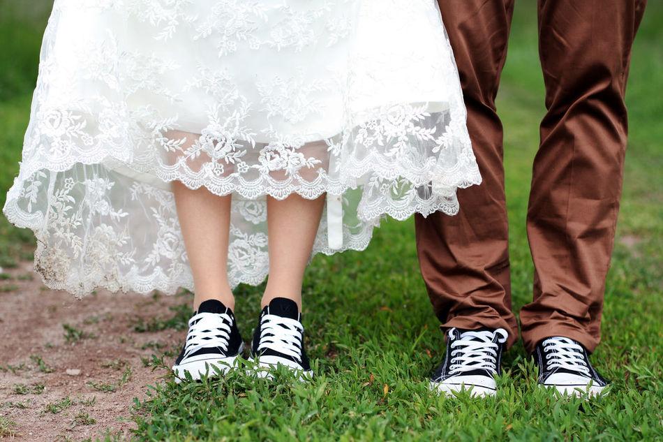 Bride Couple Grass Groom Happiness Human Leg Love People Two People Wedding Wedding Dress Women