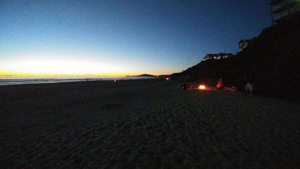 A family enjoying a beautiful night on Nye Beach w/campfire roasted marshmellows. AndroidPhotography No/Filter No/Effects 43GoldenMoments My Scenery