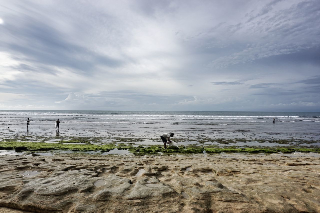 Water Sea Beauty In Nature Horizon Over Water Beach Scenics Tranquil Scene People Tranquility Finding New Frontiers Travel Bali, Indonesia Real People, Real Lives Ocean View Copy Space