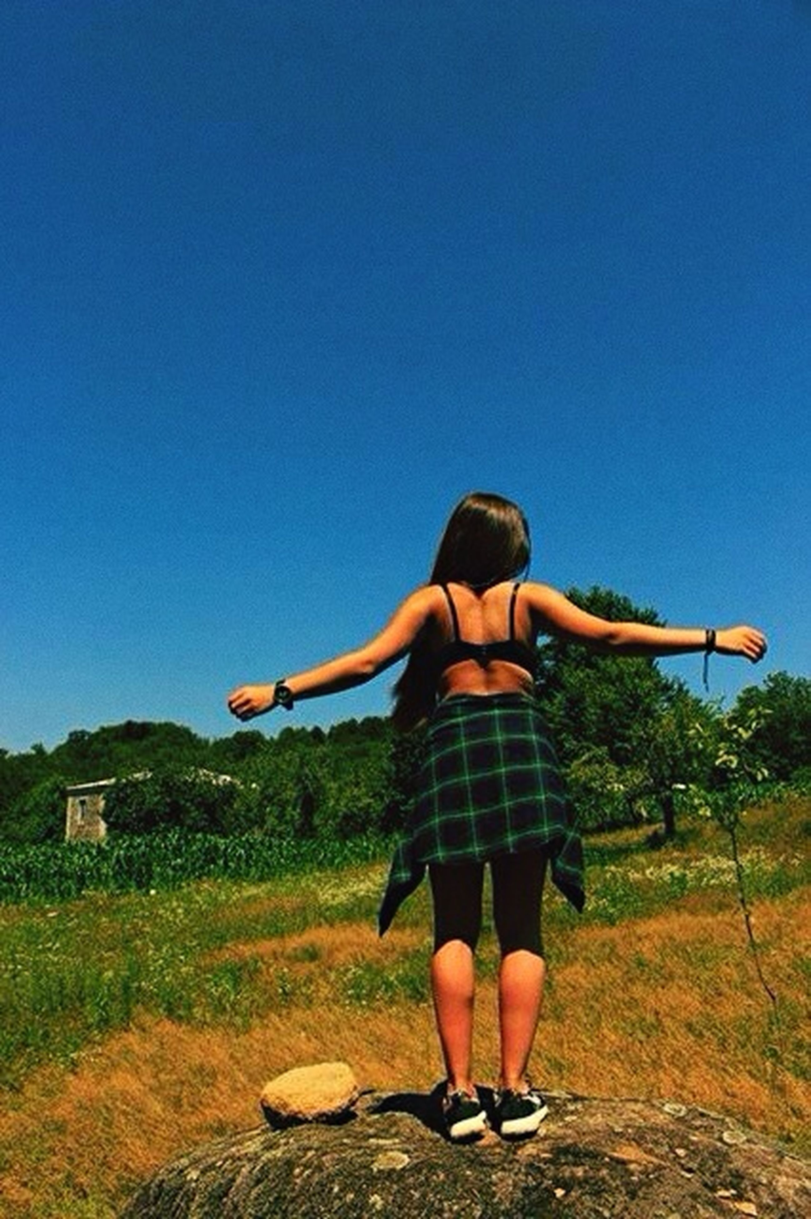 full length, lifestyles, leisure activity, clear sky, casual clothing, copy space, young adult, mid-air, rear view, arms outstretched, jumping, grass, side view, sunlight, person, carefree, standing, young women
