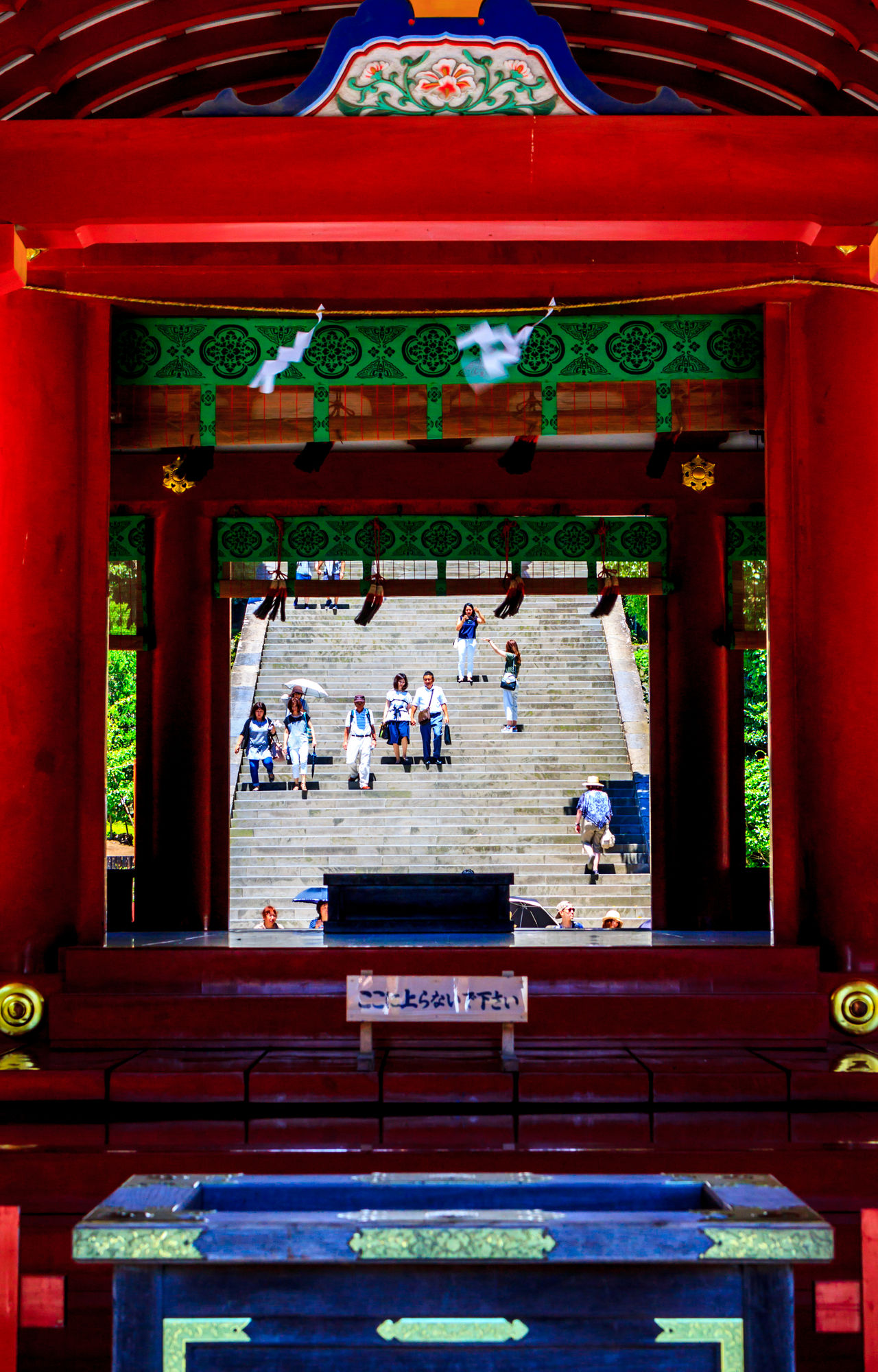 Looking through the temple in Kamakura Adult Architectural Column Architecture Buddhist Temple Building Exterior Built Structure Day Large Group Of People Lifestyles Men Outdoors People Real People Religion Temple Temple - Building Women