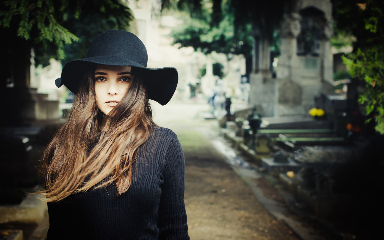 Cimitero Monumentale di Milano - girl in black hat Alone Beautiful People Beauty Black Cemetery Dark Dark Hair Dead Death Girl Graveyard Hat Long Hair Milano One Person One Woman Only Outdoors Portrait Widow Young Adult