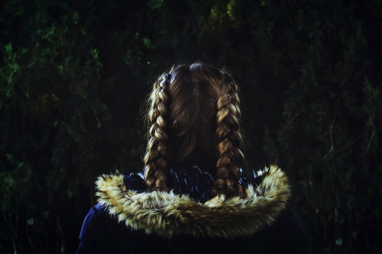 Long Hair Young Adult One Person Tree Close-up Nature Outdoors Day One Young Woman Only Braided Hair Braids Misterious Darkness Wintertime