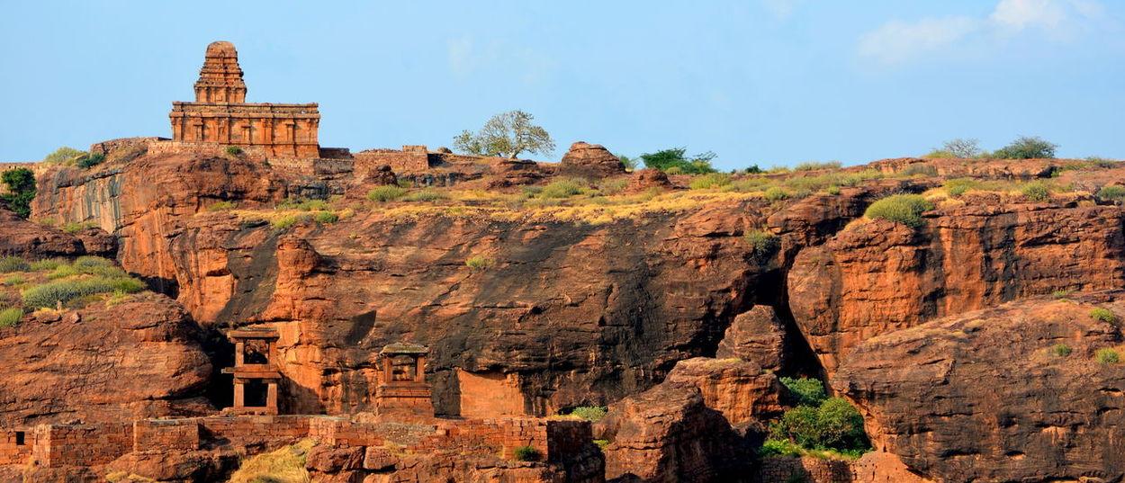 Architecture Backgrounds Badami Historic Rocks