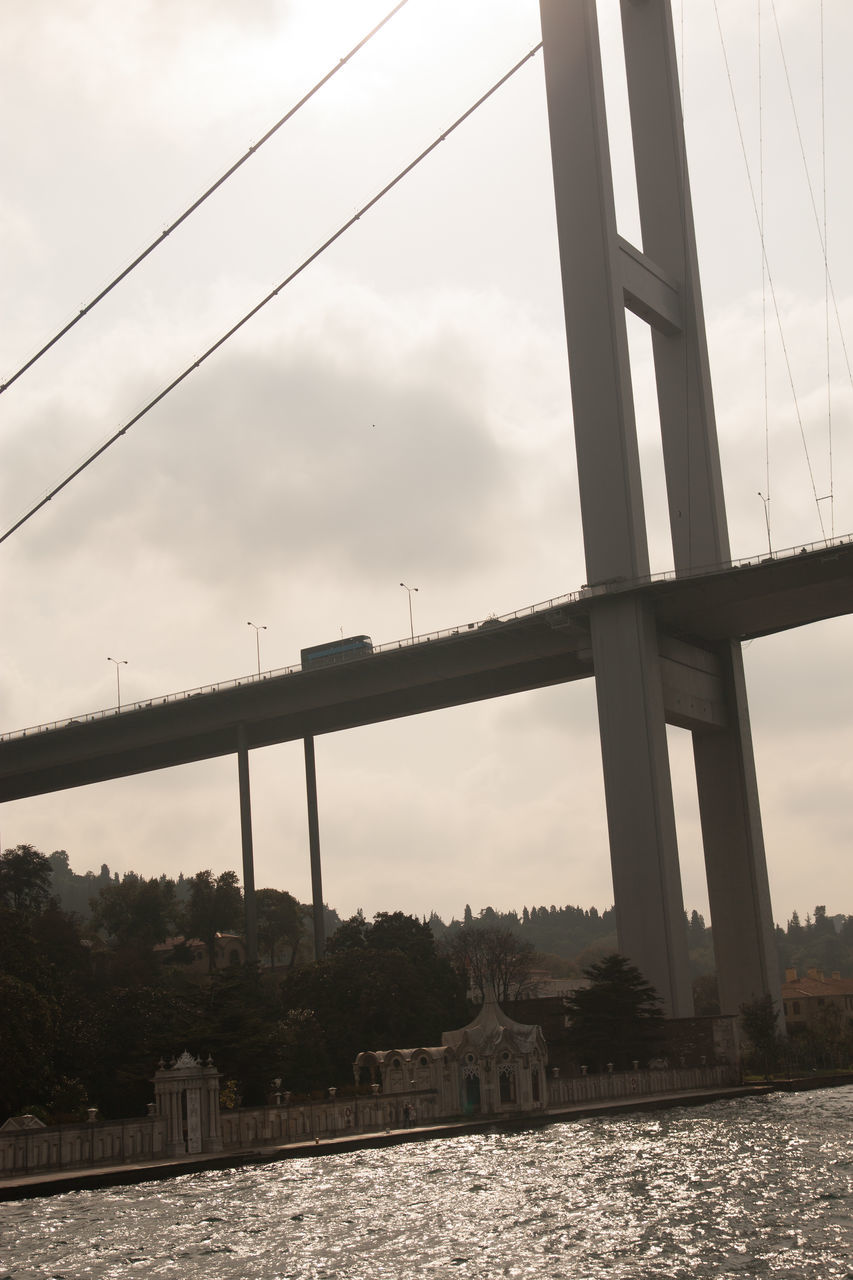 Low Angle View Of A Suspension Bridge