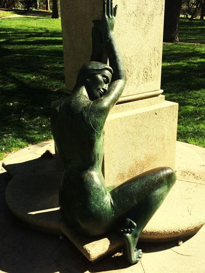 Sculpture Park Woman Sculptures Green Parque Del Oeste, Madrid, Spain Afternoon Sunbathing