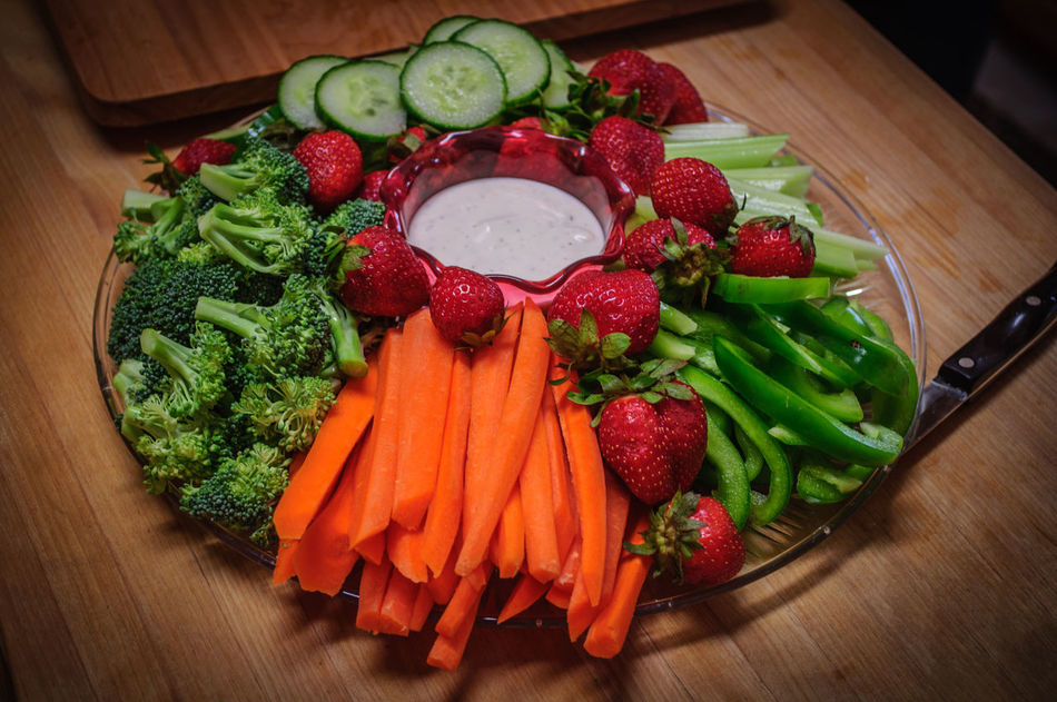 Vegetable Party Tray with Cucumbers, Carrots, Broccoli, Strawberries and Dip Appetizer Carrots Cucumber Dietfood DIP Food Healthy Eating Nutritious Party Tray Platter Ranch Snack Strawberry Tray Vegetables