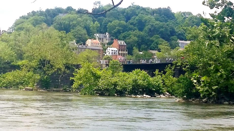 River Riverside River View Town Beautiful Amazing Nature Bridges West Virginia Harpersferry