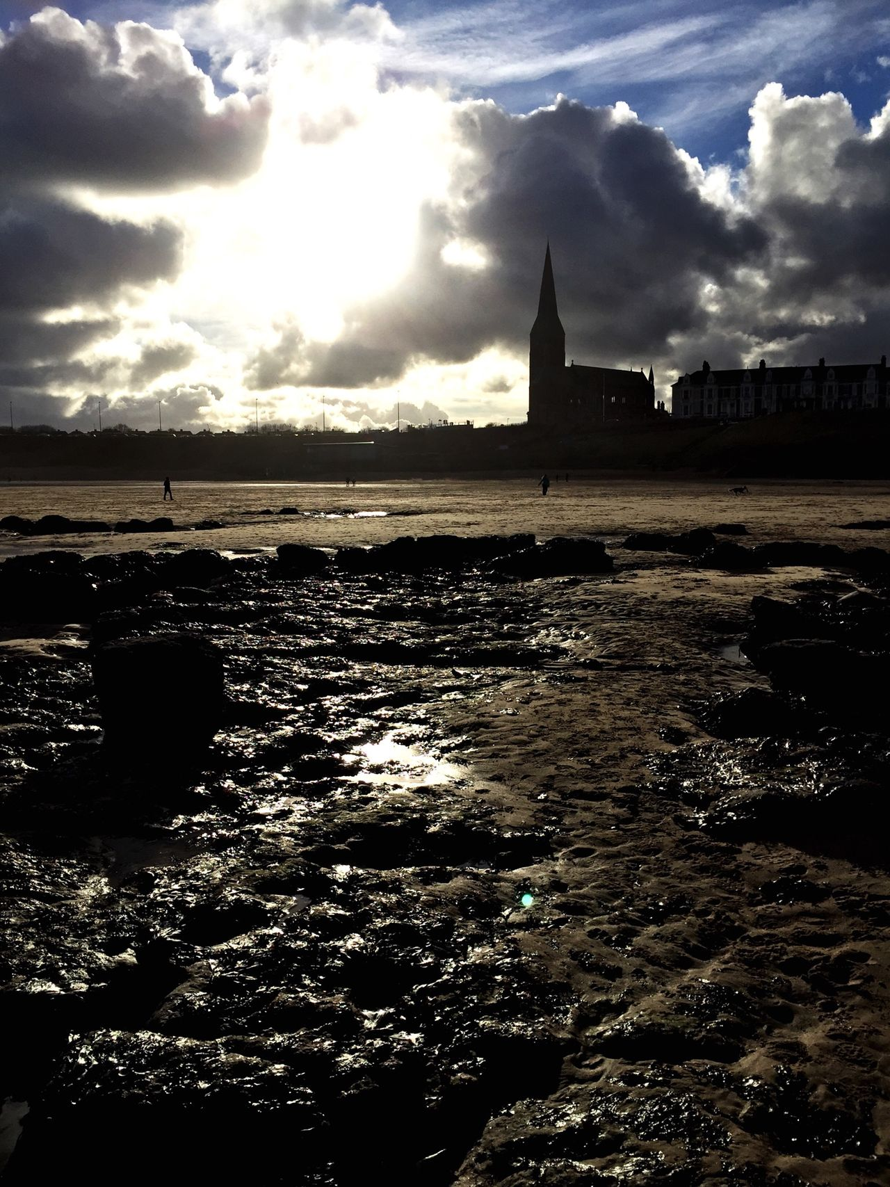 Cullercoats Church Spire Cloud Busting Beach Rocks Dog Walking Days Filtered Iphone 6 Tyne And Wear Headland Tidesout