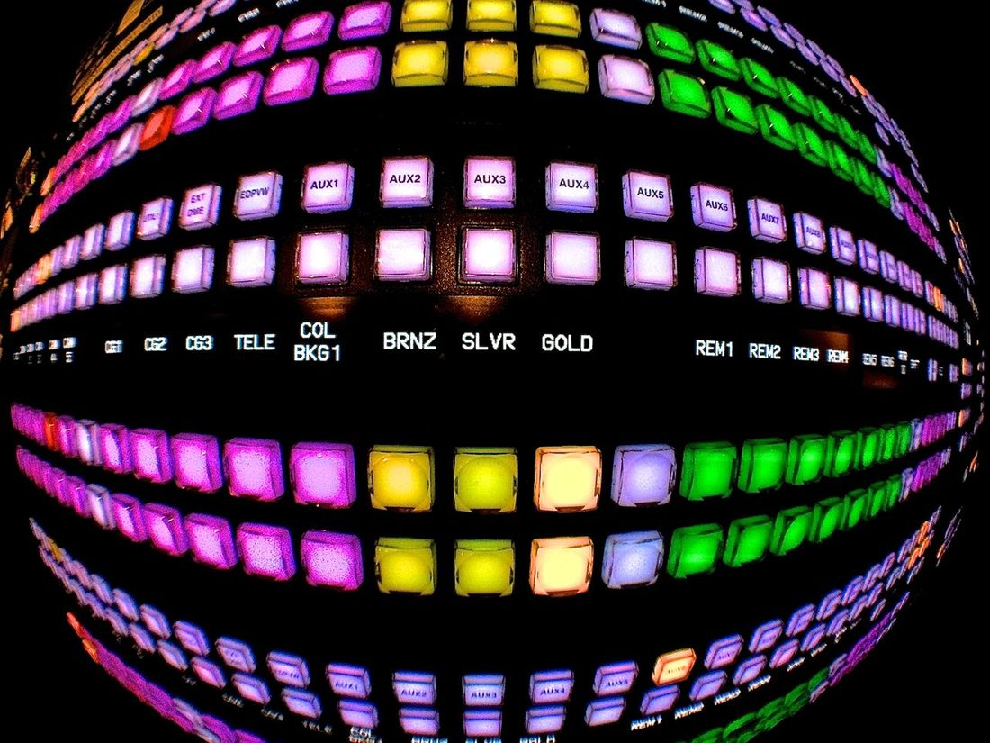 Broadcast Broadcasting Colors Fisheye Green Illuminated Multi Colored Pink Production Purple Switcher Technology Tv Video Video Production Yellow